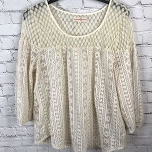 Cream Lace Top- Altar'd State